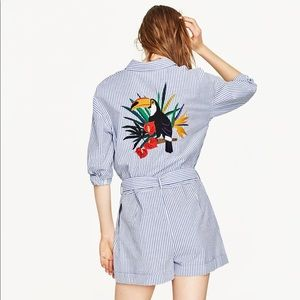 Zara Jumpsuit with embroidered toucan on the back